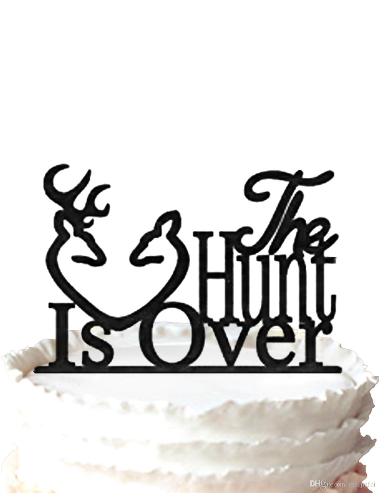 2019 The Hunt Is Over Cake Topper Rustic Wedding Deer Antlers Hunting TopperFor Option From Meijiafei 191
