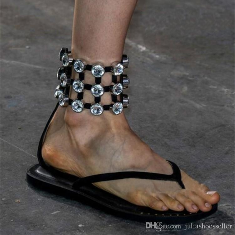 b728243da9002e New Luxury Catwalk Sandals European Diamond Sandwich Roman Sandals ...