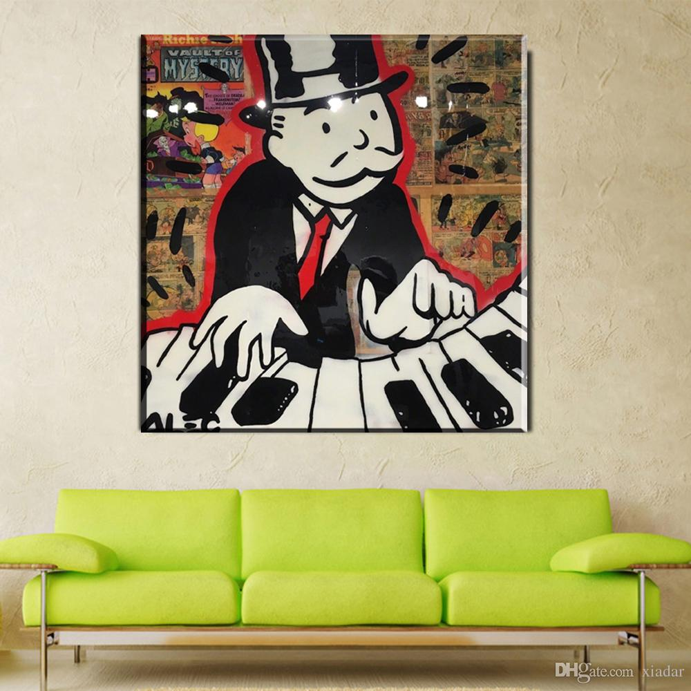 2017 Dj Oil Painting Graffiti Street Art Prints Alec Monopoly Poster Money Man Print Canvas For Bedroom And Living Room From Xiadar 643