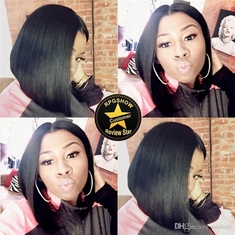 Brazilian Virgin Human Hair Bob Wig Full Lace Wig Short Silky Straight Human Hair Lace Front Wigs Bob Style