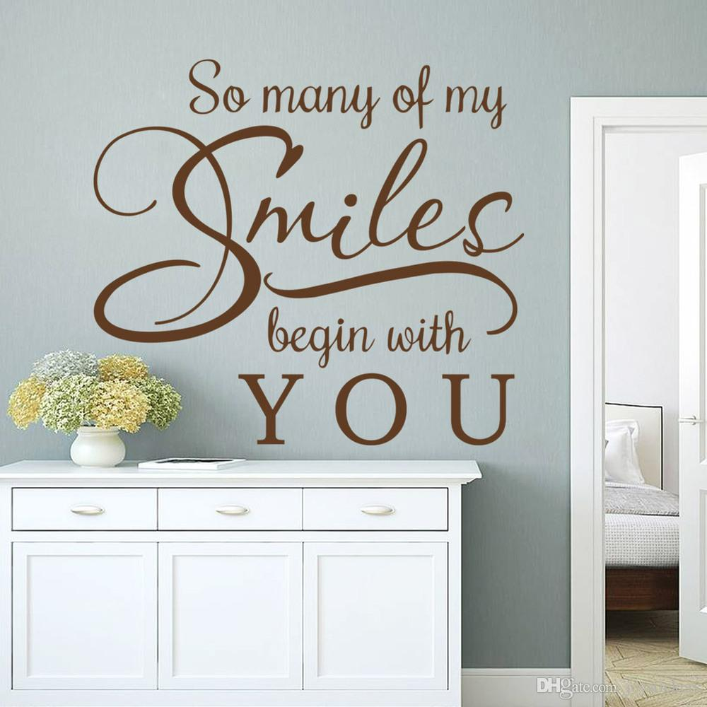 Many Smiles begin with you wall sticker Wedding decoration living room decoration removable papel de parede vinly wall decals