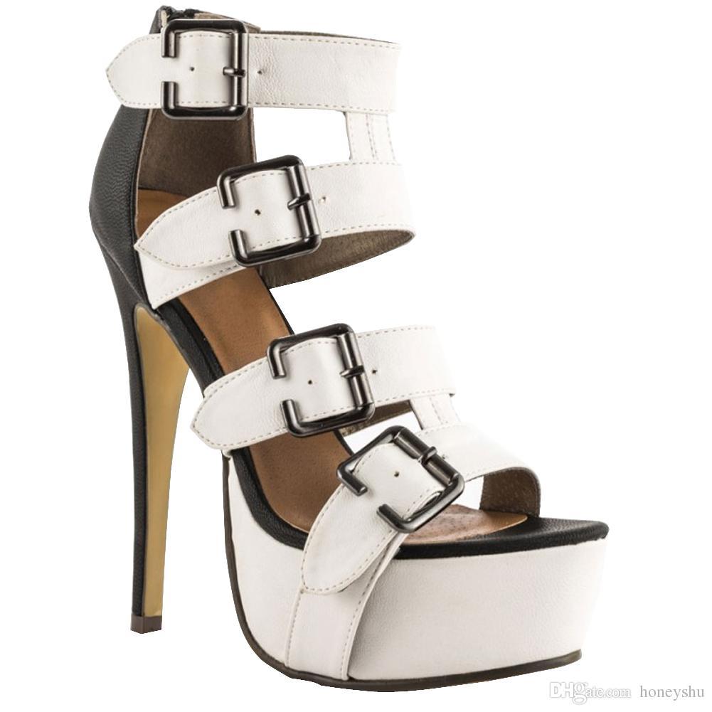 Kolnoo Damen Vier Schnallen Deco Mode Schuhe High Heel Plattform Party Kleid Peep-Toe Sandalen Schwarz XD292-XD293