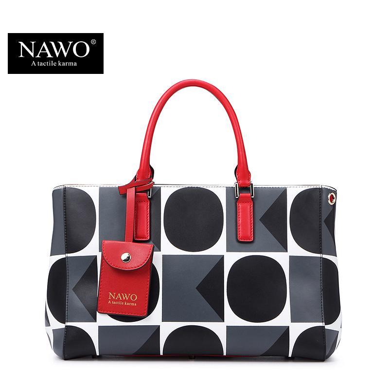 Wholesale- NAWO Geometric Leather Bags Handbags Women Famous Brands ... 2bc9b469f410a