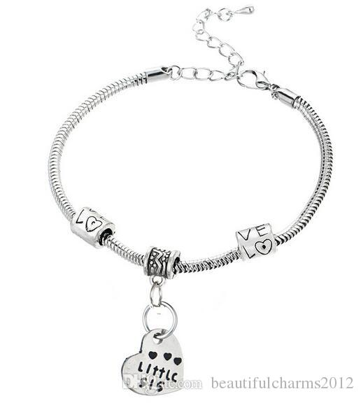 Good Sister Bracelet Antique Silver Big Middle Little Heart Pendant Charm Bangle Fashion Jewelrys AS Holiday Gift