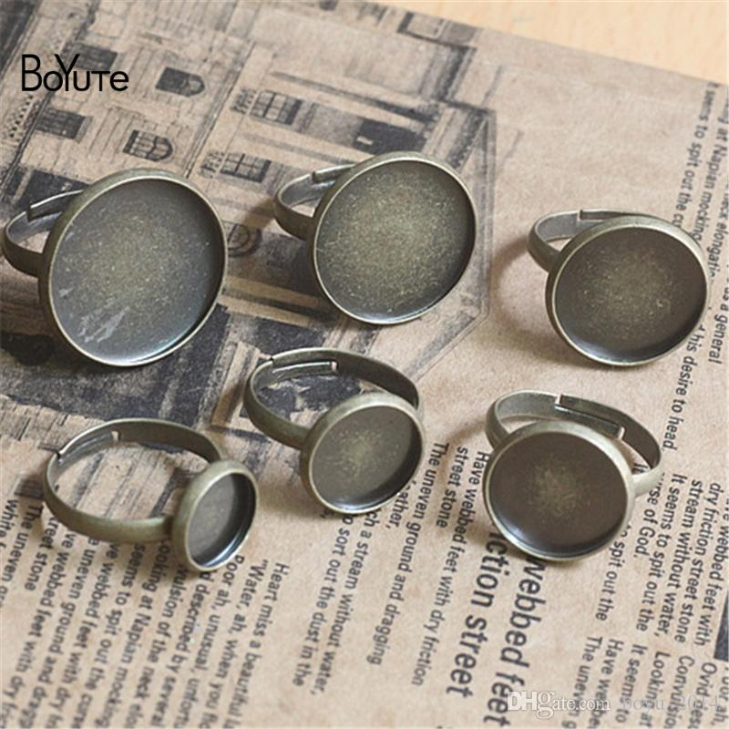 BoYuTe 10MM 12MM 14MM 16MM 18MM 20MM Cabochon Base Ring Setting Jewelry Findings & Components Adjustable Silver Ring Base
