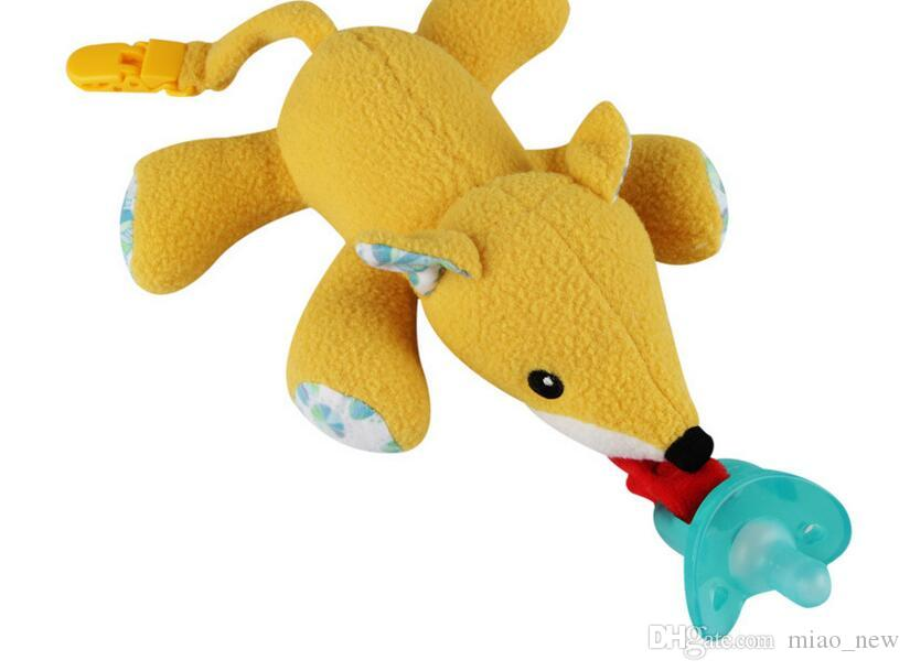 2017 new baby pacifier baby hanging animal plush toy silicone pacifier a variety of colors optional