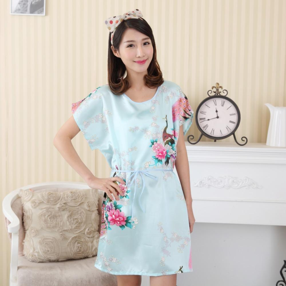2019 Wholesale Hot Sale Chinese Women Faux Silk Robe Bath Gown Summer  Lounge Home Dress Print Sleepwear Sexy Nightgown Flower Plus Size WC095  From Sweet59 88c2cf031