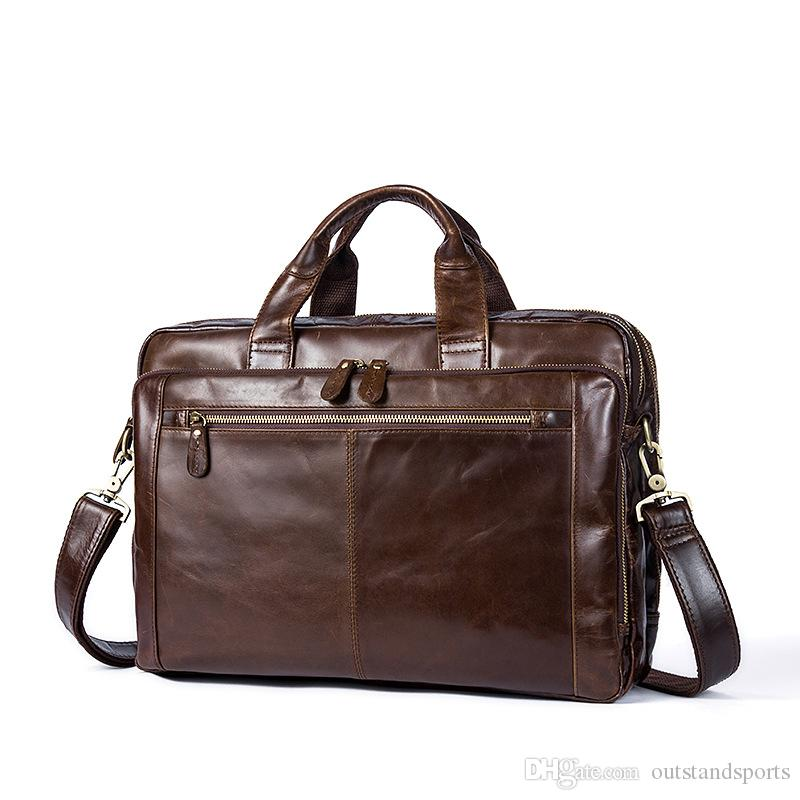 oil waxing leather handbag 9207 Top layer cow leather one shoulder diagonal laptop business totes bag OEM available
