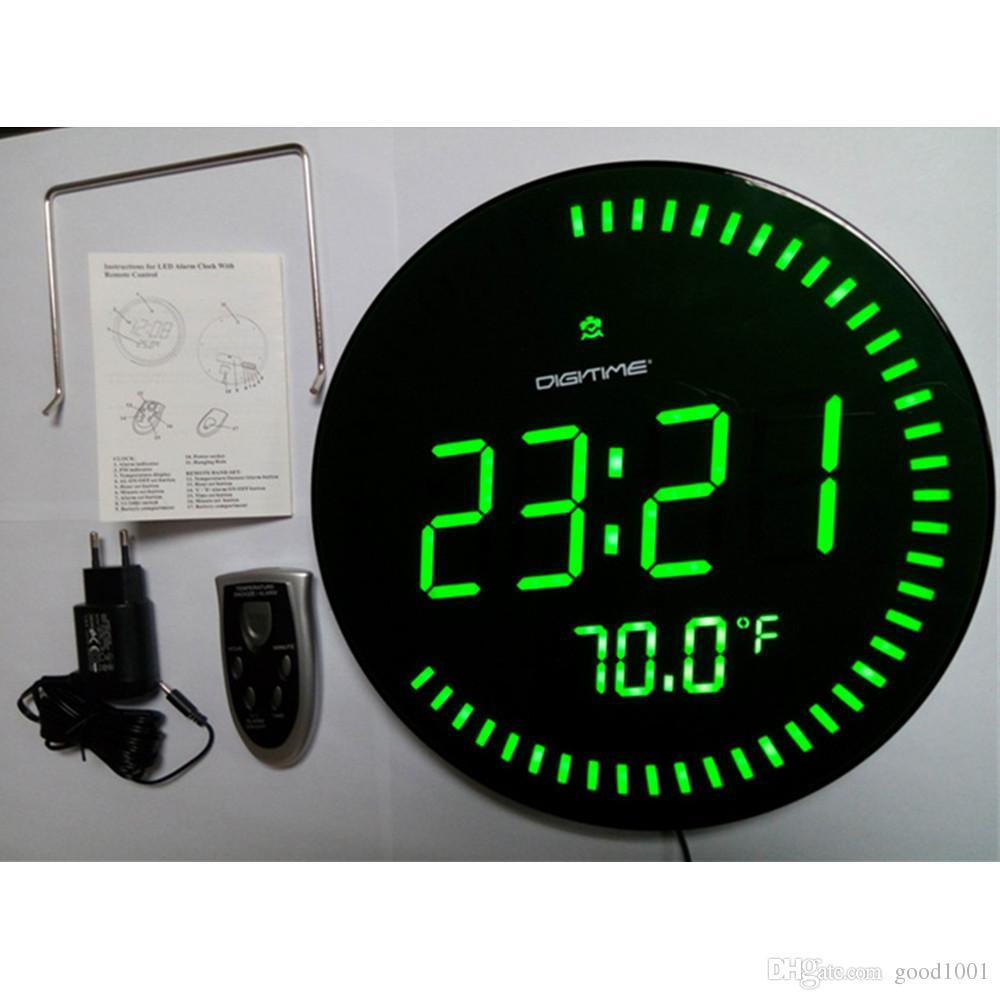 7a0fef50438 Compre 12 Polegada Grande LED Digital Relógio De Parede 3D Design Moderno  Home Decor Sala Decoração Big Watch Temperatura Alarme Silencioso VERDE  VERMELHO ...