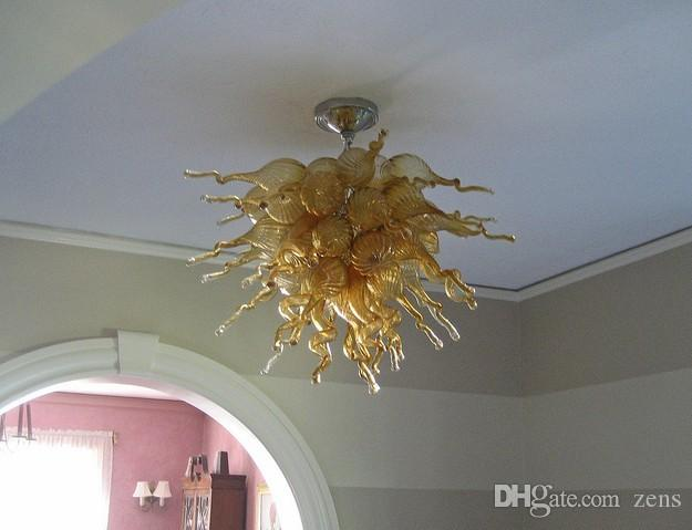 Wholesale Blown Glass Ceiling Chandeliers Amber Coloured Borosilicate Murano Glass Art Chandelier Lustre Glass Pendant Lamps