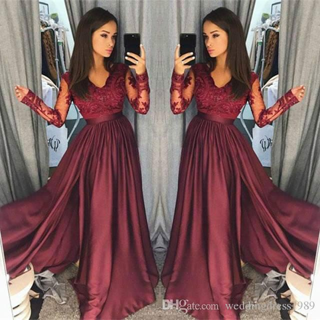 ab8cb1f9ce Elegant Long Sleeve Burgundy Prom Dresses 2018 V Neck Lace Satin African  Cheap Party Formal Evening Dresses Gowns Robe De Soiree Short Lace Prom  Dresses ...