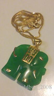 Großhandel billig 18kgp Gelbgold lebendige grüne Jade Elefant Anhänger