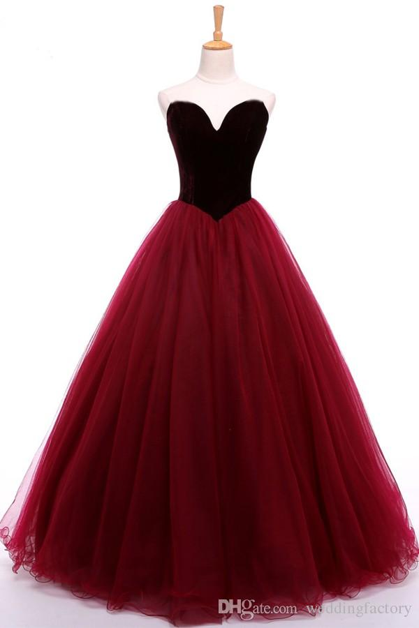Stunning Prom Dressess Dark Red Burgundy Velvet Prom Dress Sweetheart Sleeveless Zipper up Tulle Evening Gowns Party Wear