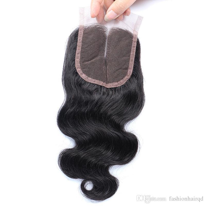 Ham Hint İnsan Saç Dantel Kapatma Ağartılmış Knot Vücut Dalga İşlenmemiş Virgin Saç İsviçre Dantel Üst Kapatma Ücretsiz Orta 3 Yollu Kısmı