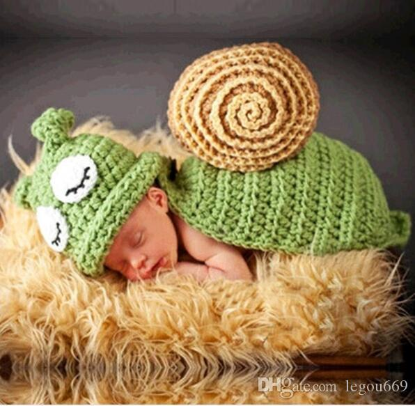 Baby Hat Caps Baby Newborn Photography Props Snail Hand Crochet Knit Beanie Children's Hats with Cape Snail Costume Fotografia G827