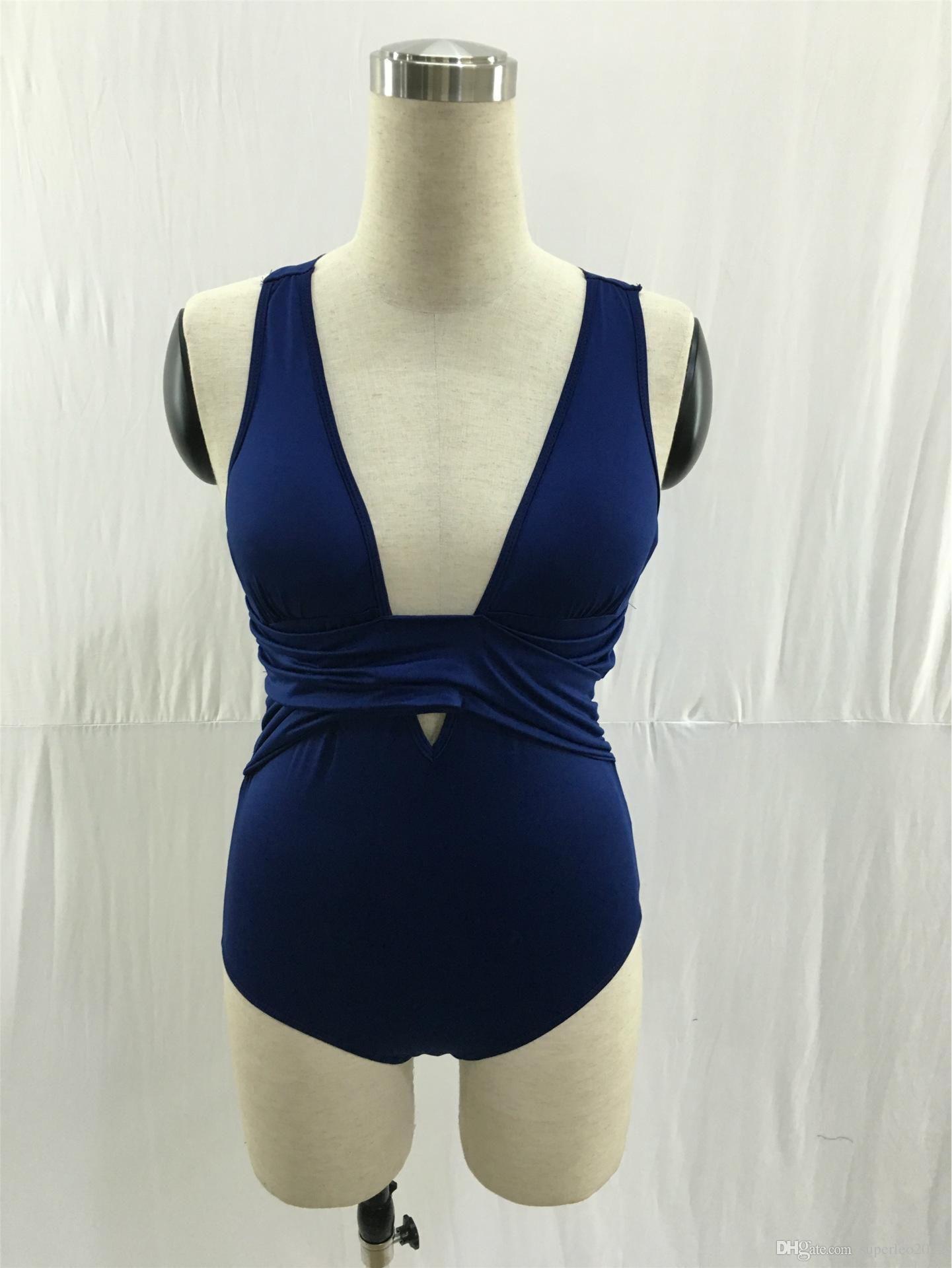 Women Summer Casual Solid Back Cross Swimwear Beach Style Sports Bathing Wear Deep V Neck Swimsuits One Piece YY2572