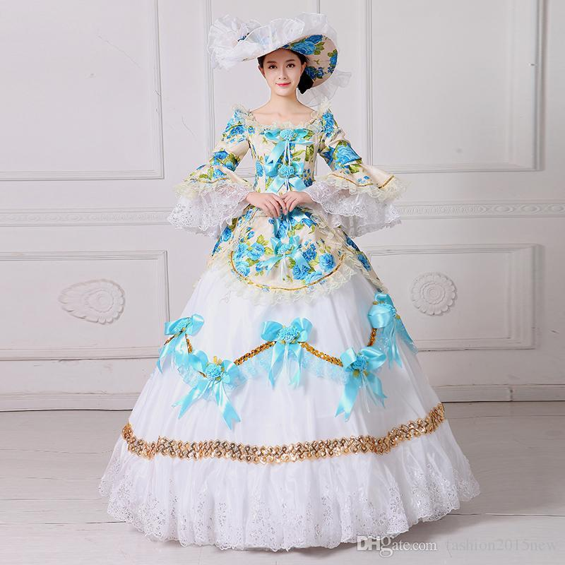 Marie Antoinette Masquerade Dresses Renaissance Southern Belle Ball Gowns 2017 New Floral Printed Theatrical Clothing Women Lace Dress FN204