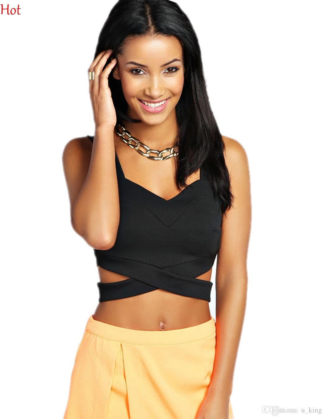 0c6a375f5e00e Women Ladies Tank Girls Strappy Bandage Tank Summer Backless Cropped Tops  Vest Cropped Camisoles Crop Top Black White Sexy Tanks SV013454 Bandage Bra  Sports ...