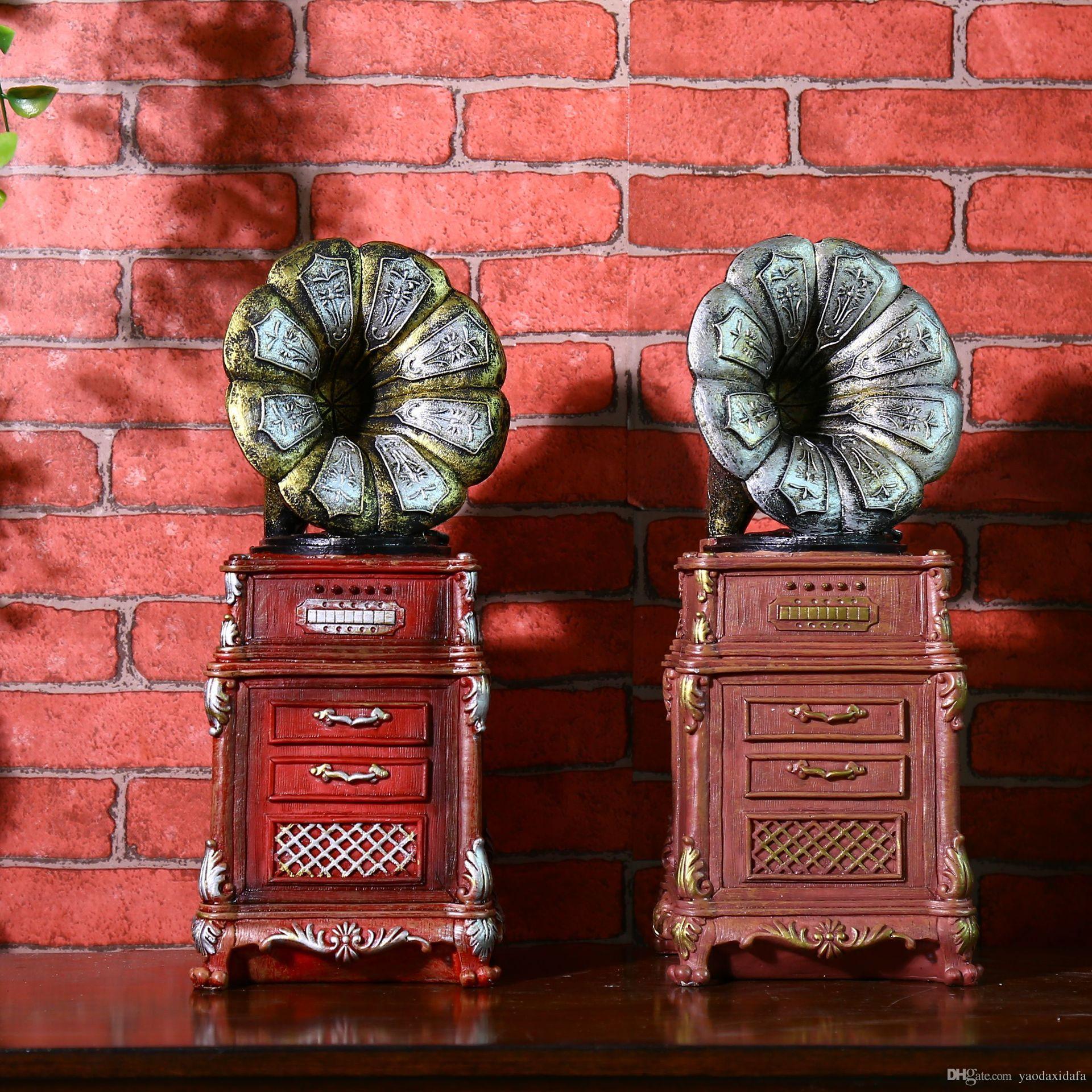 2018 Shabby Chic Antique Phonograph Piggy Bank Vintage Home Decor ...