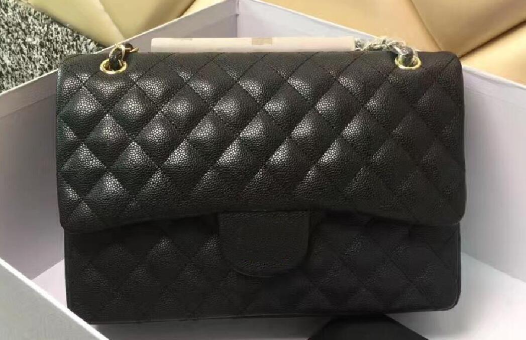 1113 30CM Black Caviar Classic Women s Handbag Double Flap Bag ... 2379d5bed5f1b