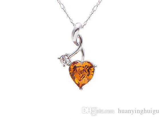 2017 NewIn kalp kristal kolye Bir kısa kolye kolye şanslı aşk kolye DZ9