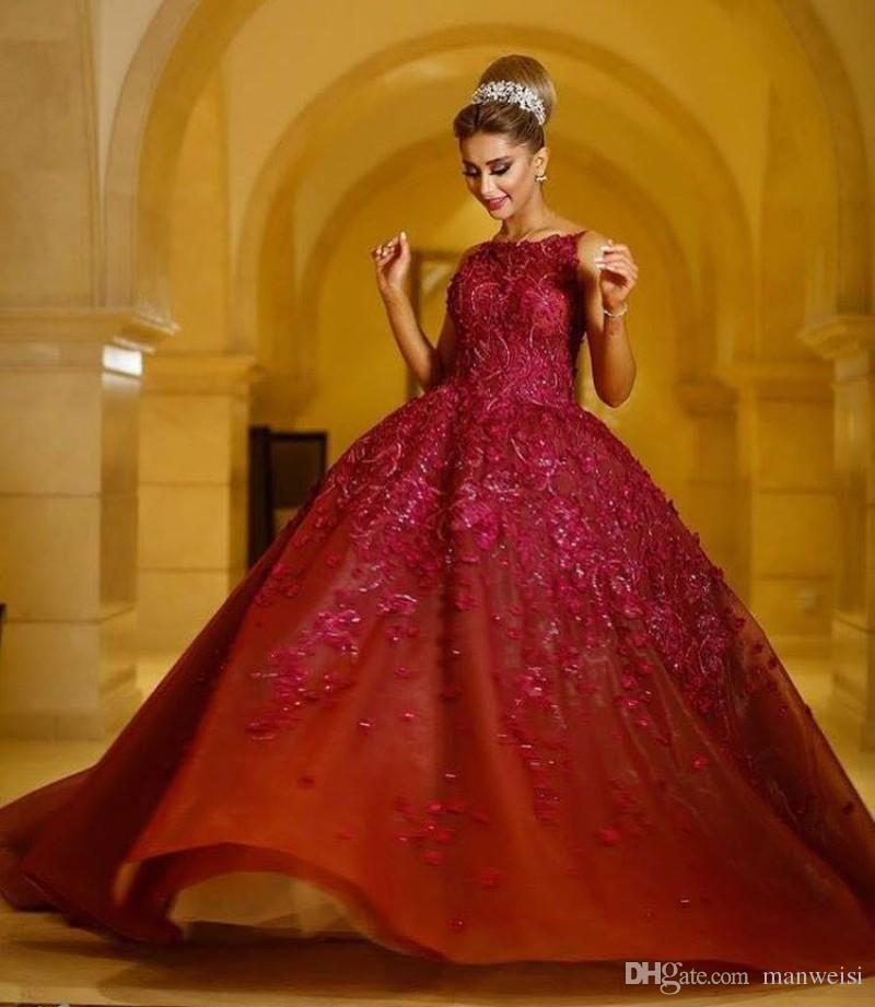 Luxus Spitze Ballkleid Abendkleider Applizierte Backless Jewel Ausschnitt Perlen Abendkleider Sweep Zug Formal Party Dress