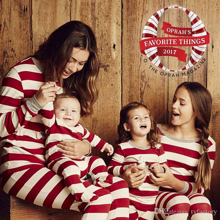 ef152c6051 Matching Family Christmas Pajamas Striped Nightwear Baby Kid Adult Clothes  XMAS Striped Dad Mom Kids Clothing Set Two Pieces Outfit Gift Mother  Daughter ...