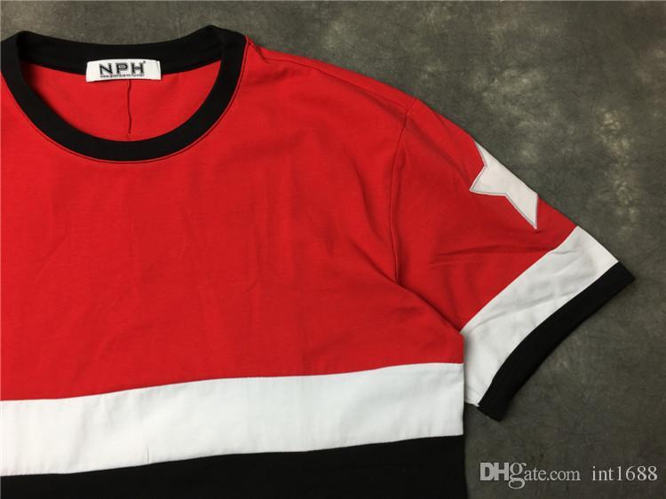 2017 أزياء العلامة التجارية الرجال القمصان الأحمر كم قصير عادية شيرت المحملة بلايز رجالي مع قصيرة المحملة النجوم المطبوعة النجوم