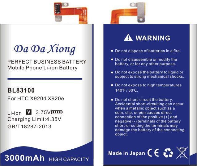 Da Da Xiong 3000mAh bateria do telefone BL83100 para HTC x920e x920d borboleta droid dtl htl21 Deluxe DLX One X5