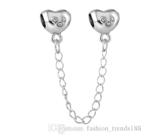 3501db0c0 2019 Fits Pandora Bracelets Silver Mickey Heart Crystal Safety Chain Charm  Bead Stopper Beads For Wholesale Diy European Sterling Necklace From ...