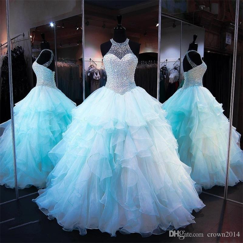Ruffled Organza Skirt Quinceanera Dresses 2018 With Pearl Beaded ...