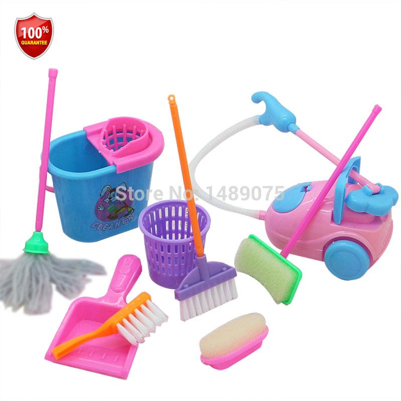 Girl House Doll Accessories Toy Furniture Cleaning Kit Set