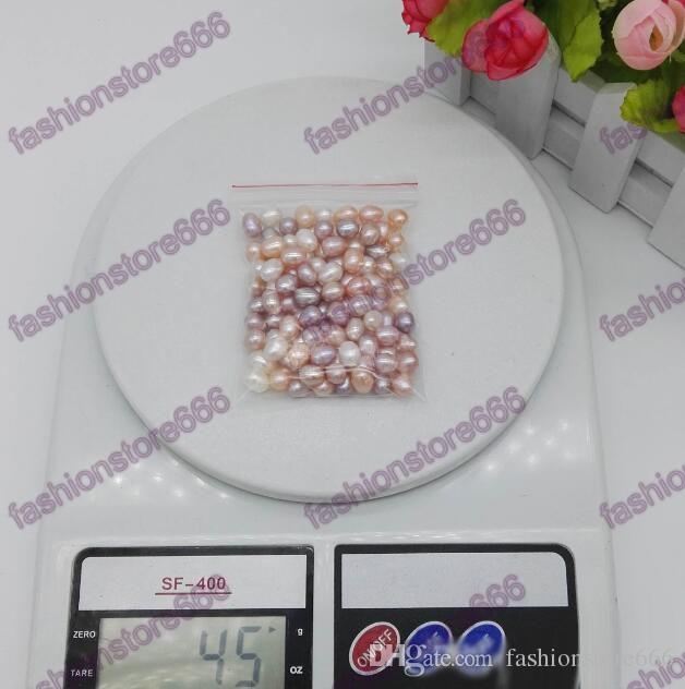 Высокое качество 6-7мм овальный жемчуг бисер 3-х цветов Белый Розовый Фиолетовый Сыпучие Пресноводный жемчуг для изготовления ювелирных изделий Поставки Дешевые ювелирные изделия