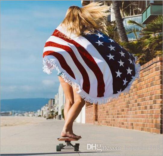 Tovaglietta quadrata rotonda modello bandiera americana telo mare telo mare copricapo bohemien telo mare chiffon telo scialle asciugamano stuoia di yoga