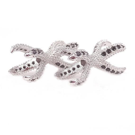 Connettore artiglio d'aquila d'argento oro, connettori bracciale d'artiglio d'aquila, perline d'artiglio di pavone CZ, 22mm