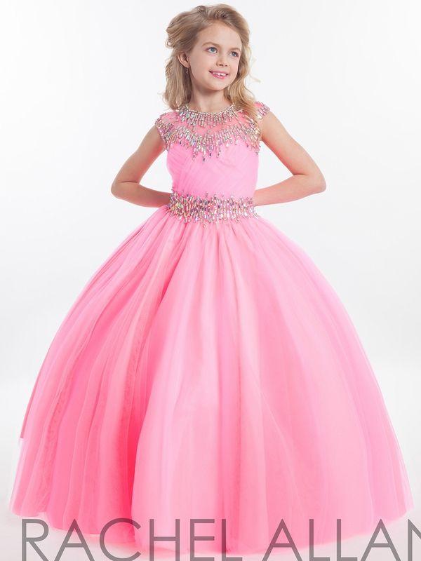 2020 Rachel Allan filles Pageant robes pour les adolescents Illusion cou mancherons cristal rose Beades longue Kids Party Flower Girl robe HY1138