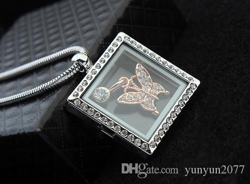 Fashion Costume Accessories Jewelry Austrian Crystal Geometric Square Pendant Butterfly Magic Box Open Real Gold Sweater Necklaces For Women