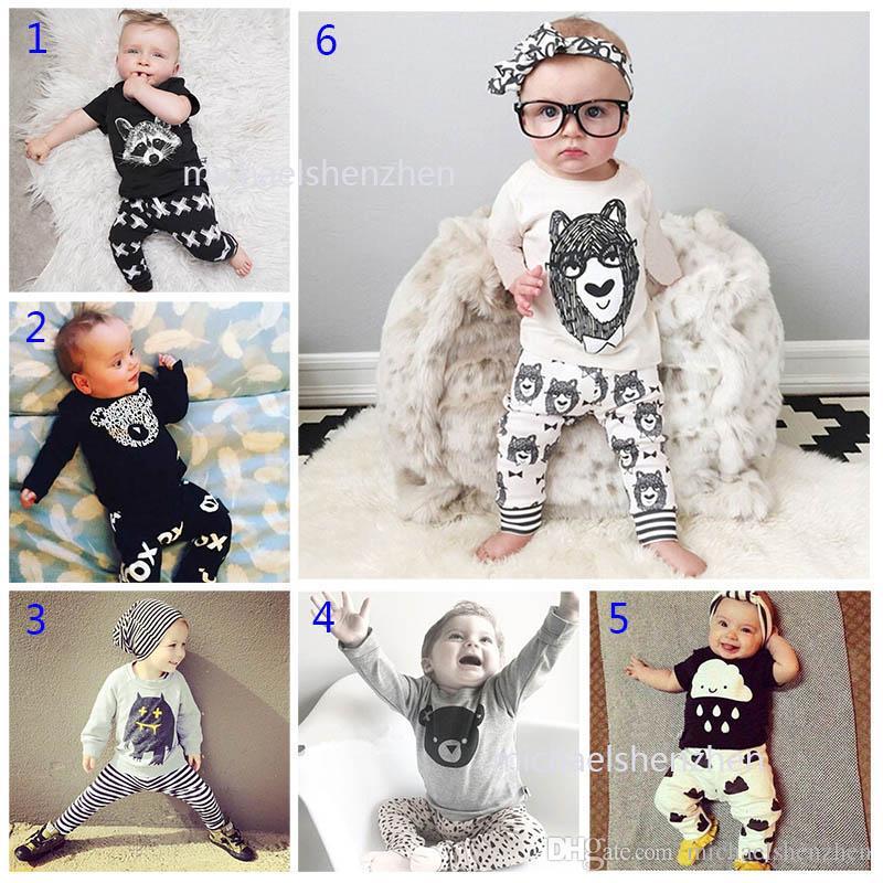 30 Estilo Do Bebê INS fox tarja letra Ternos Crianças Criança Infantil Casual Curto de manga comprida T-shirt + calças conjuntos pijamas recém-nascidos roupas