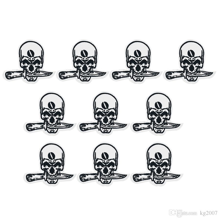 2018 Punk Skull Bit Knife Badges Patches For Clothing Iron Embroidered Patch  Applique Iron On Patches Sewing Accessories From Kg2007, $3.22 | Dhgate.Com