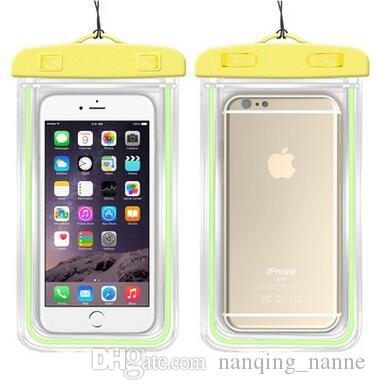 Screen Waterproof Case Bag for IPhone 6 7 Plus Note 4 Universal Cell Phone Beach Bag Outdoor Spin-dry Bag Clearly Protection Glowing