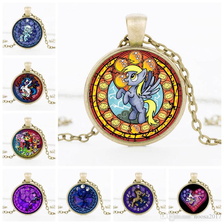 2017 US Cartoon Pony Anime movie Rainbow Pony 25mm Pendant sign Necklace Fashion Time gem DIY Jewelry best gifts for kids Wholesale