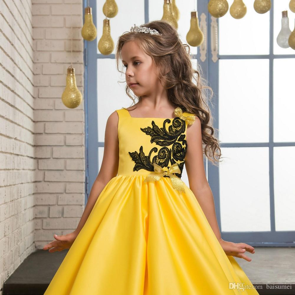 Princess Satin Lace Applique Yellow Party Prom Dress Children Kids Long Little Girls Pageant Dresses Yellow Size 8 10 12