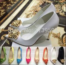 2016 Nerw Fashion Spring Pointed Toe Gold Ladies Head High Heel Shoes Black White Patent Leather Dress Shoes Women's Pumps Size 34-42