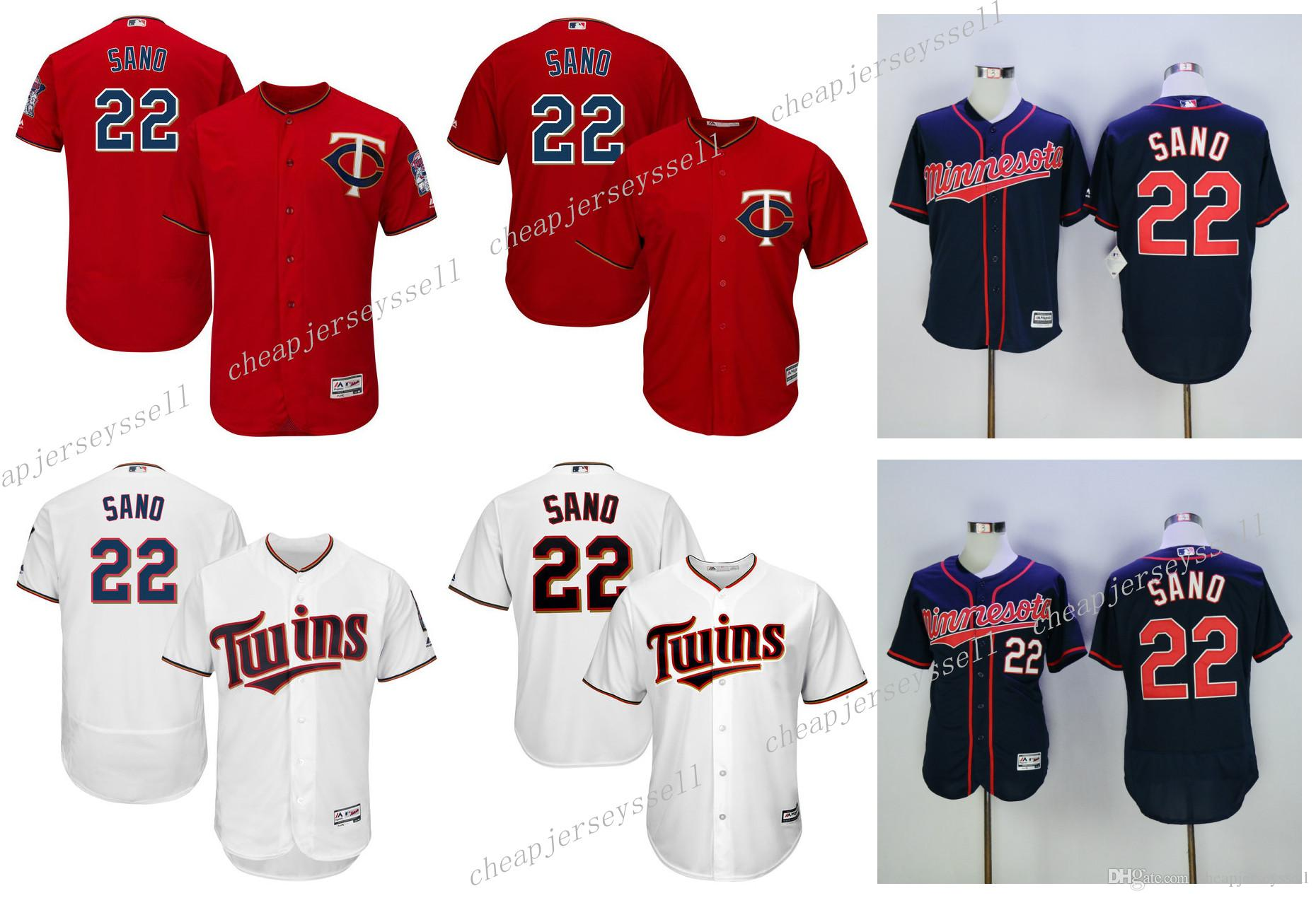 2f0a455cc ... 2017 MenS Minnesota Twins 22 Miguel Sano Jerseys Majestic Red White  Navy Cool Base Flex Base ...