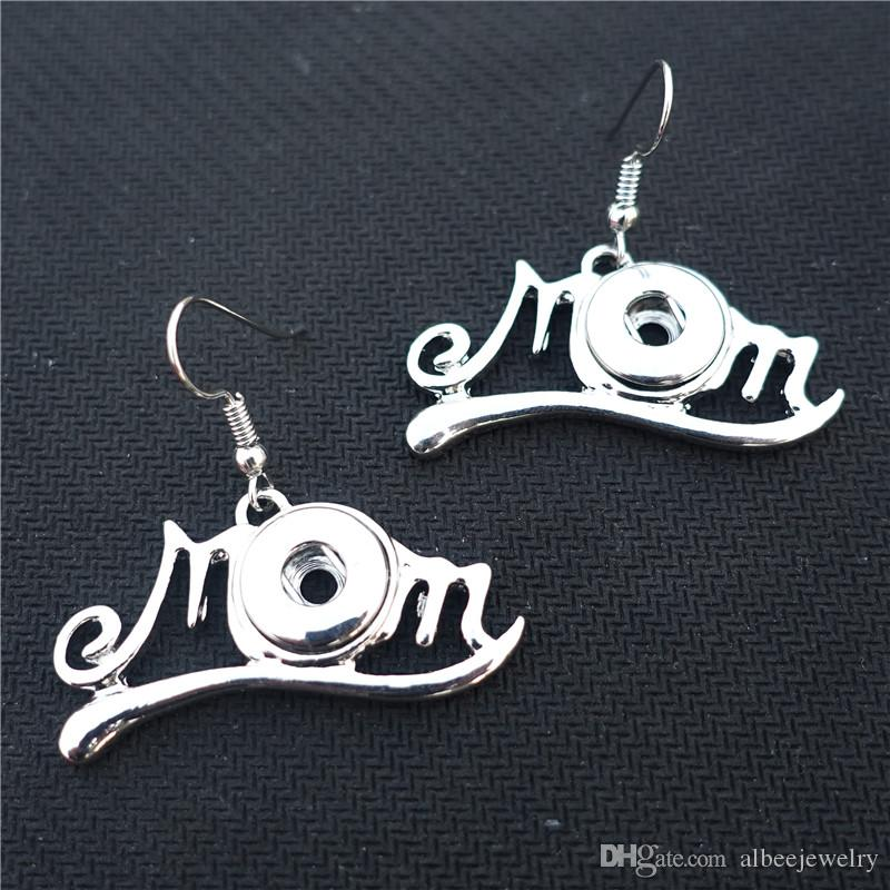 Fashion Silver Noosa Chunks Metal Ginger 12mm Snap Button Mom Earrings For Mother's Day Jewelry