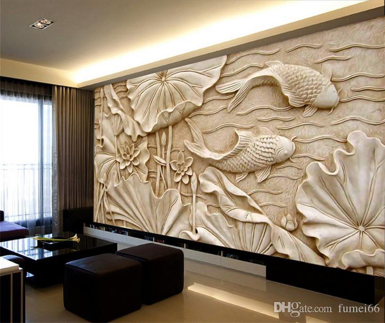 Fake Wood Carvings Relief Peintures Nouveau Classique Chinois Grande Fresque 3D Stéréo Fonds d'écran Salon TV Fond Mur Lotus Poisson