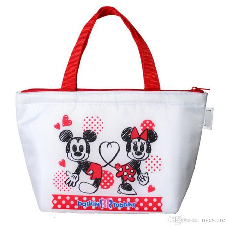 designer white mickey and minnie mouse insulation ice bag picnic pouch handbags lunch container thermal insulated cooler bag lunch box tote from