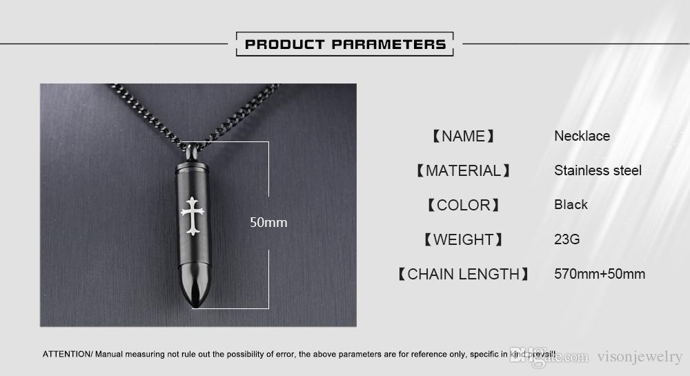 스테인레스 스틸 570mm + 50mm 확장 체인 블랙 도금 50mm 총알 모양의 십자가 화장 항아리 목걸이