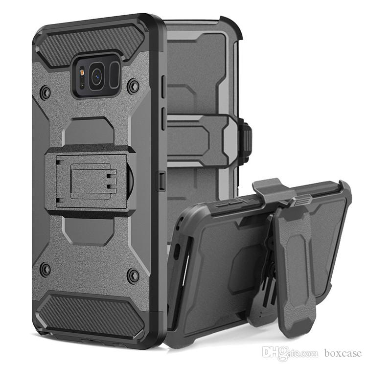 low priced 56fad 8f4c6 3 in 1 Hard Case For Samsung Galaxy S5 S6 S7 S8 Plus Edge Kickstand Belt  Clip Hoster Defender Rugged Armor