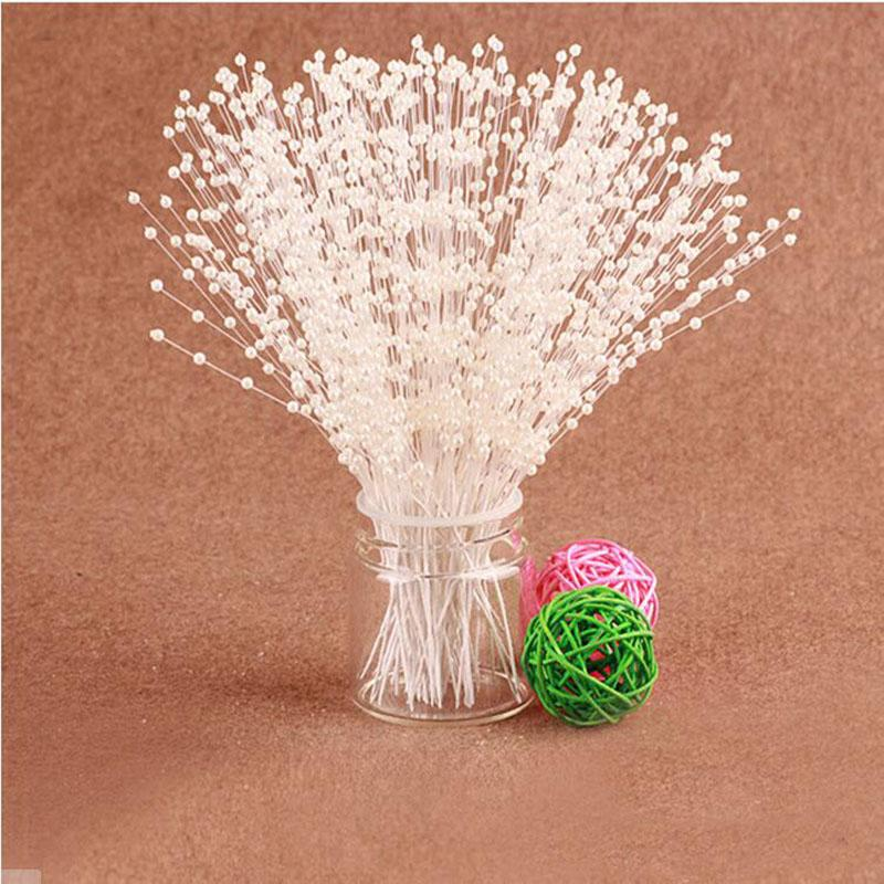 Diy Crafts Flowers Ivory White Pear Spray Bridal Bouquet Stems Wedding Party Cake Topper Decoration Accessories